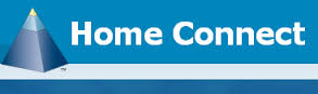 Home Connect logo - There is a big blue pyramid on the left